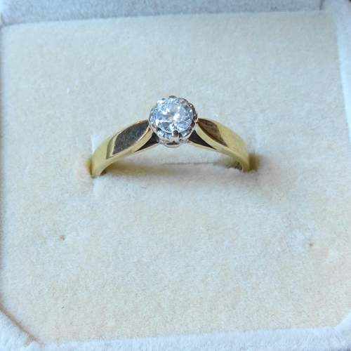 9ct Gold Solitaire Diamond Ring image-1