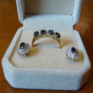 9ct Gold Sapphire and Diamond Ring and Earrings