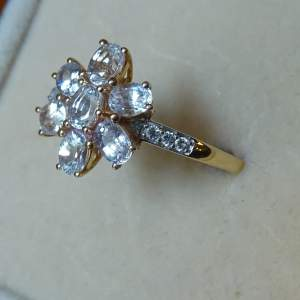 9ct Gold Cluster Ring of Seven White Sapphires