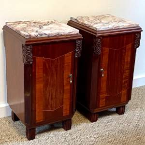Pair of Art Deco Marble Top Bedside Cabinets