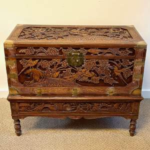 Carved Camphorwood Chest on Stand