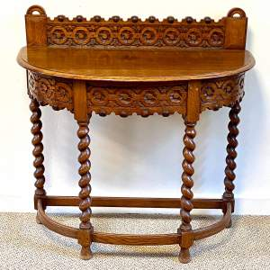 Carved Oak Demi Lune Hall Table