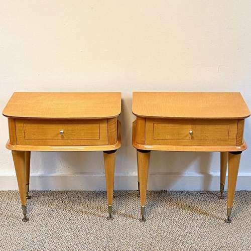 Pair of Mid Century Birds Eye Maple Bedside Cabinets image-1