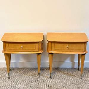 Pair of Mid Century Birds Eye Maple Bedside Cabinets