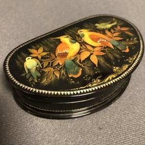 Russian Palekh Miniature Lacquer Papier Mache Semi Circular Box