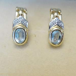 14ct Gold and Aquamarine Earrings