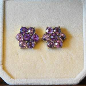 9ct Gold and Amethyst Cluster Earrings