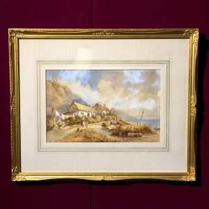 19th Century T Chambers Watercolour of Seaside Scene