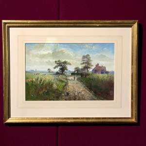 Original Oil on Board Farm Painting by J.E.Mace