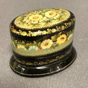 Palekh Miniature Floral Oval Box