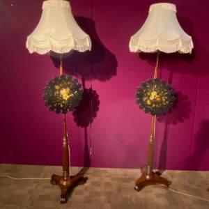 Pair of Late Regency Rosewood Polescreen Standard Lamps