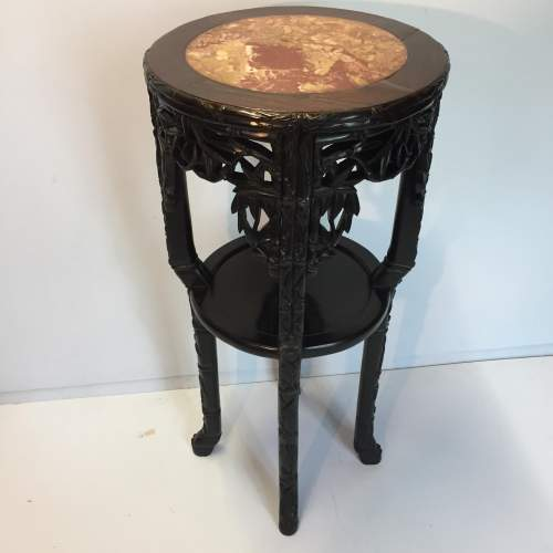 Chinese Marble Topped Carved Hardwood Jardiniere Stand Circa 1900 image-1