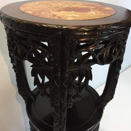 Chinese Marble Topped Carved Hardwood Jardiniere Stand Circa 1900 image-2