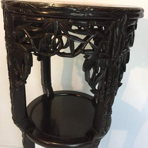Chinese Marble Topped Carved Hardwood Jardiniere Stand Circa 1900 image-3