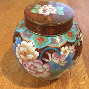 Japanese Cloisonne Ginger Jar and Cover With Floral Pattern