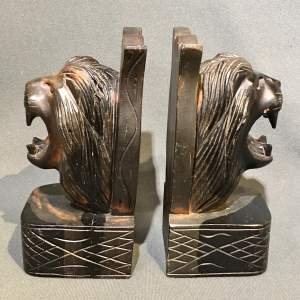 Pair of Mid 20th Century Carved Wooden Lions Head Bookends