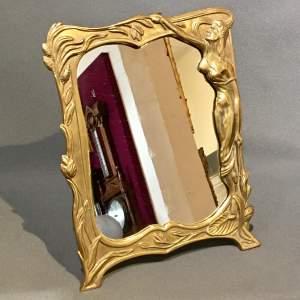 Mid 20th Century Art Nouveau Style Brass Vanity Mirror
