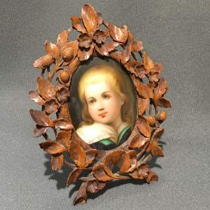 19th Century Handpainted Porcelain Miniature in Black Forest Frame