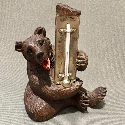 Black Forest Carved Wooden Bear Thermometer image-1