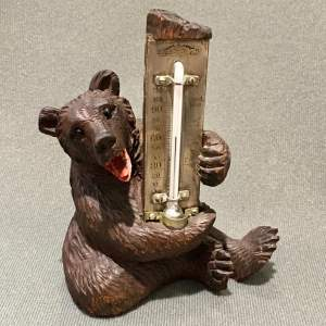 Black Forest Carved Wooden Bear Thermometer