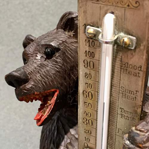 Black Forest Carved Wooden Bear Thermometer image-2