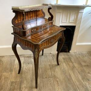 19th Century Diamond Parquetry Inlaid Rosewood Ladys Writing Desk