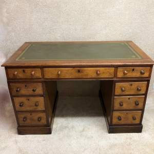 Victorian Oak 3 Piece Pedestal Desk