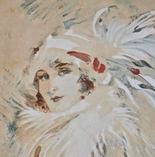 Original Watercolour Painting Portrait of a Society Beauty image-2