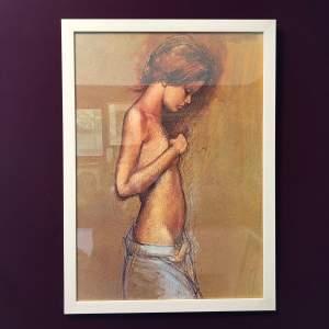 Framed Vintage Print of a Girl