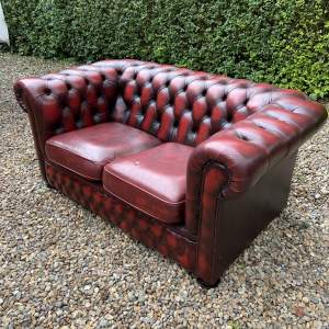 Vintage Oxblood Red Leather Chesterfield Two Seater Sofa