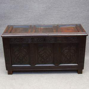18th Century Oak Three Panel Coffer