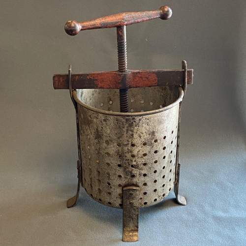 Early 20th Century Galvanised Tin and Cast Iron Fruit Press image-1