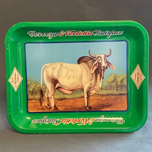 Vintage Nortena Rectangular Tin Beer Tray image-4