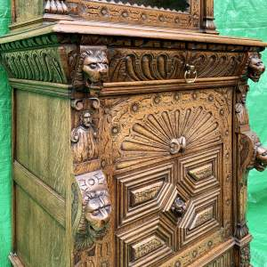 19th Century French Carved Oak Bookcase