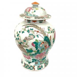 A Chinese Famille Vert Porcelain Ginger Jar