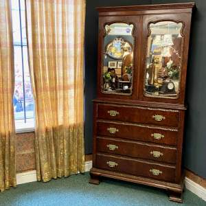19th Century Walnut and Parcel Gilt Secretaire Bookcase