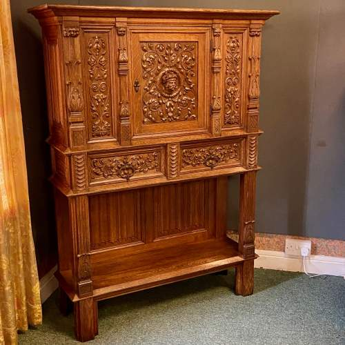 19th Century Carved Oak Credence Cupboard image-1