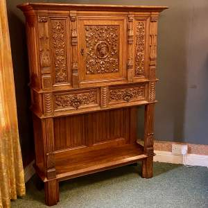 19th Century Carved Oak Credence Cupboard