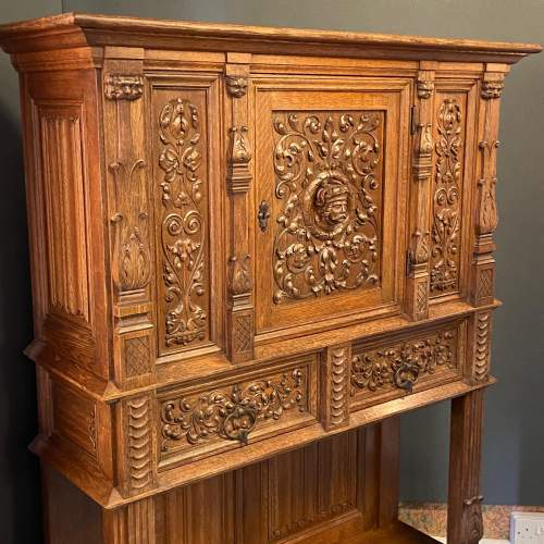 19th Century Carved Oak Credence Cupboard image-2