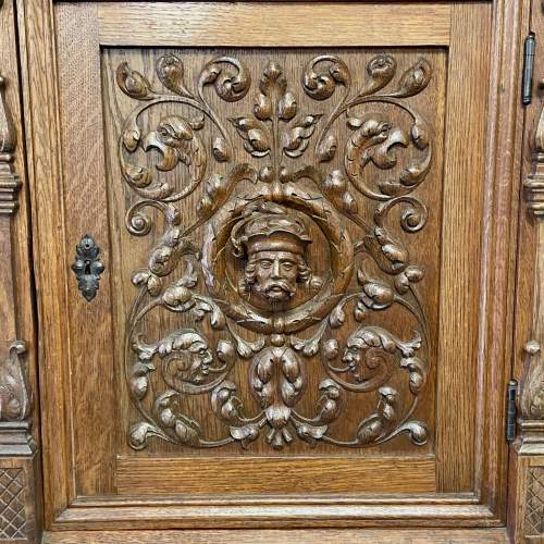 19th Century Carved Oak Credence Cupboard image-5