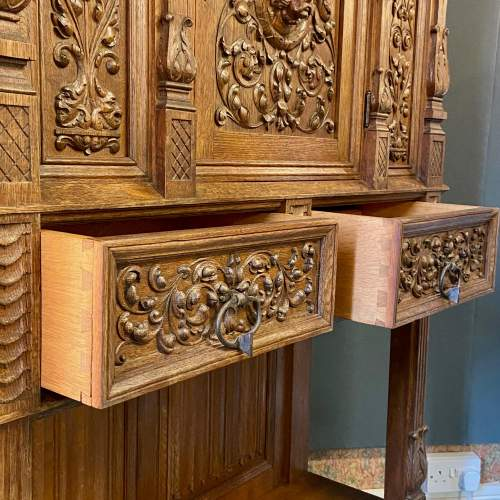 19th Century Carved Oak Credence Cupboard image-4