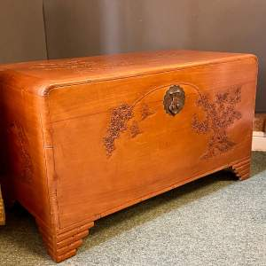 Early 20th Century Carved Camphorwood Kist