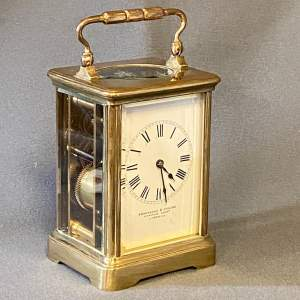 Gilt Brass and Glass Carriage Clock by Brockbank and Atkins