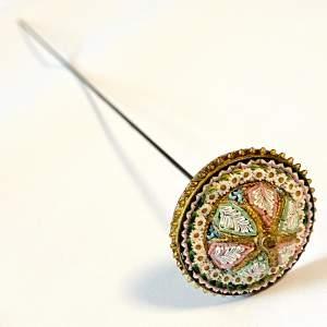 19th Century Italian Micro Mosaic Hat Pin