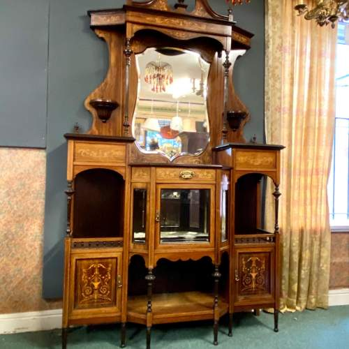 Victorian Rosewood and Satinwood Inlaid Parlour Cabinet image-1