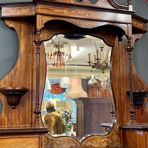 Victorian Rosewood and Satinwood Inlaid Parlour Cabinet image-3
