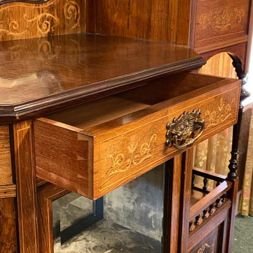 Victorian Rosewood and Satinwood Inlaid Parlour Cabinet image-5