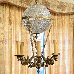 Gilt Metal and Cut Glass Globe Chandelier