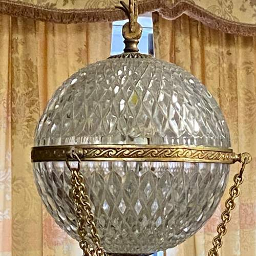 Gilt Metal and Cut Glass Globe Chandelier image-2