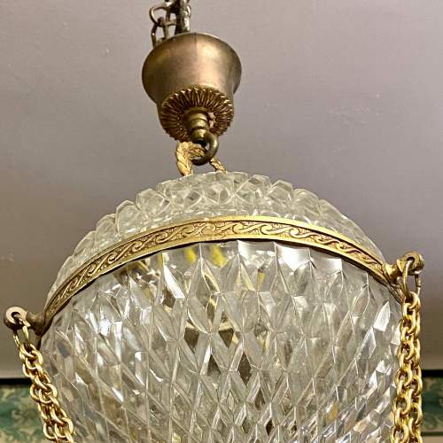 Gilt Metal and Cut Glass Globe Chandelier image-6